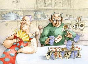 altes Ehepaar spielt Karten